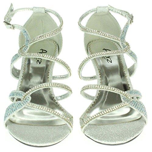Mujer Señoras Diamante Embellecido Enjaulado Tacón medio Noche Fiesta Boda Paseo Sandalias Zapatos Tamaño Plata