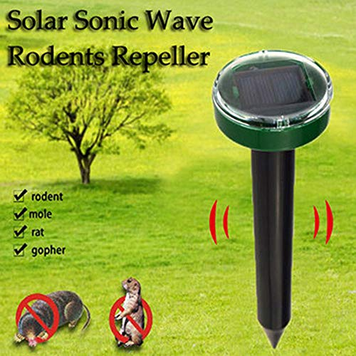 (HIGHMIGOU 1 Solar Ultrasonic Snake-Shaped Mouse Insect Repeller Pest Rodent Repeller Refuses Outdoor (Black))