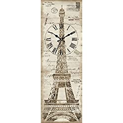 Ashton Sutton Canvas Wall Clock with Eiffel Tower Design