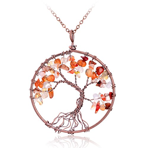 Handmade Semi Precious Natural Tumbled Red Agate Stone Tree of life Multicolor...