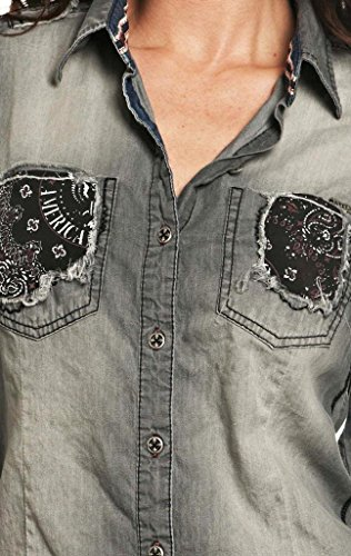 Affliction Love Struck Long Sleeve Shirt S Charcoal by Affliction (Image #2)