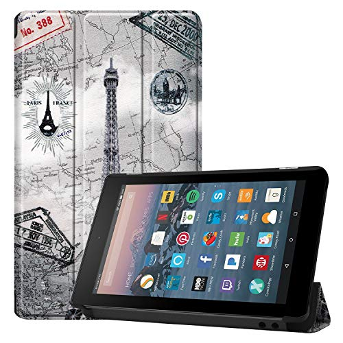 EC-Touch Slim Folio Case for Amazon Kindle Fire 7 Tablet (9th Generation, 2019 Release), Lightweight Shell Standing Cover with Auto Wake/Sleep for Fire 7 9th Gen 2019 (Retro tower)