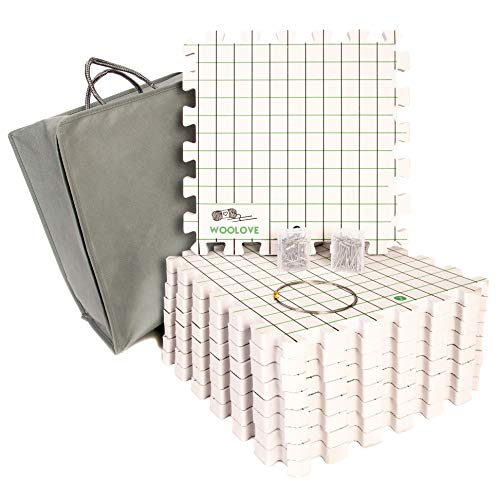 Extra Thik Blocking Mats for Wet and Steam Blocking by Woolove - Set of 9 Marked with Numbers to get Precise Grid - Includes 100 t pins, Blocking Wire and Storage Bag