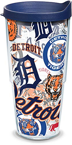 Tervis MLB Detroit Tigers All Over Tumbler with BL3 Travel Lid, 24 oz, Clear ()
