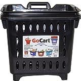 GoCart, Black Grocery Shopping Basket Rolling Laundry Cart