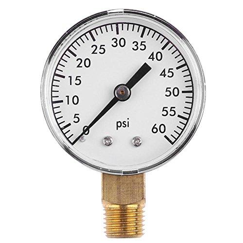 Pressure Tester Gauge 1/4 Inch NPT 2 Inch Face Side Mount 0-60 PSI Mini Pressure Gauge Dial Air Compressor Meter Hydraulic Pressure Tester