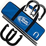Bud Light Heavy Duty Professional Horseshoe Set (4 Horsehoes, 2 Poles, and Carrying Case) - Includes 2 Bonus Deck of Cards!