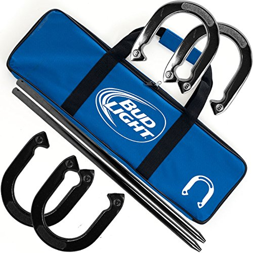 Bud Light Heavy Duty Professional Horseshoe Set (4 Horsehoes, 2 Poles, and Carrying Case) - Includes 2 Bonus Deck of Cards! (Card Deck Four Shoe)