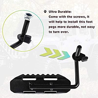 Danti a Pair of Black Front Foot Pegs for Jeep Wrangler JK All Automatic Transmission Models 2007-2020: Automotive
