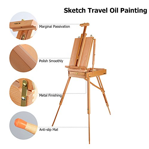 ShowMaven Upgraded French Easel Wooden Sketch Box Portable Folding Beech Art Artist Painters Tripod (Brass Classroom Lock)