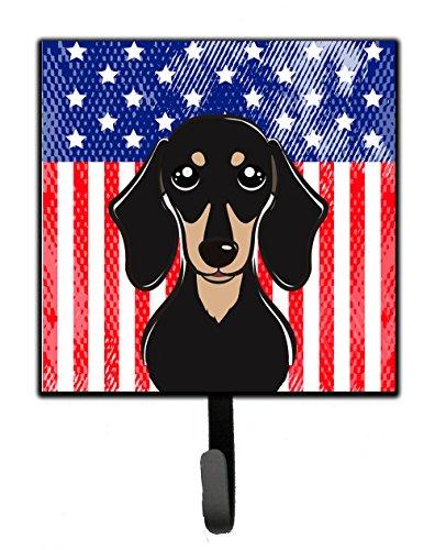 Caroline's Treasures BB2145SH4 American Flag and Smooth Black and Tan Dachshund Leash or Key Holder, 7Hx4.25W, Multicolor
