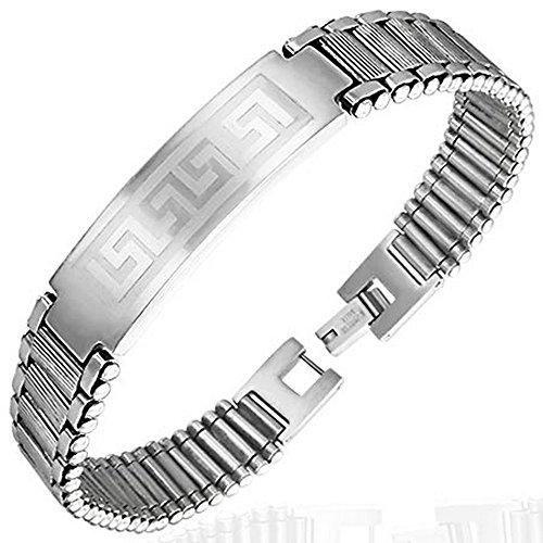 Stainless Steel Silver-Tone Greek Key Mesh Link Chain Bracelet