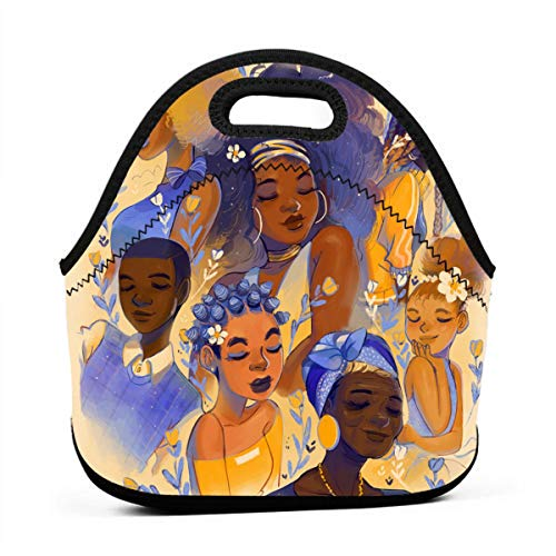 (Lunch Box Afro Lady African American Black Women Girls Art Gourmet Lunchbox Organizer for Men Women Adults, Work School Picnic Beach Lunch Holder Neoprene Handbag Reusable Drinks Holder)