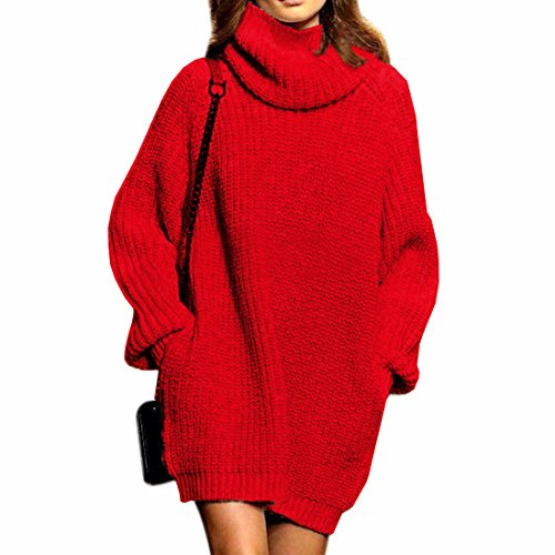 Fengtre Women's Cashmere Knit Loose Turtleneck/Cowlneck Long Sweater Dress (Autumn Cashmere Cowl Neck Sweater)