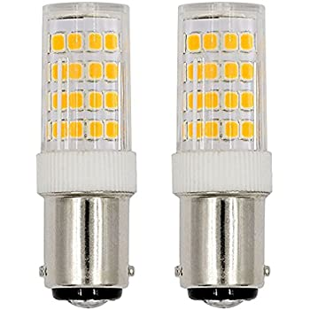 REELCO 2pcs pack Ba15d LED Light Bulb 5Watts Double Contact Bayonet Base Warm White 2700k-3000k 120Volts Daylight T3/T4/C7/S6 LED Halogen Replacement Bulb