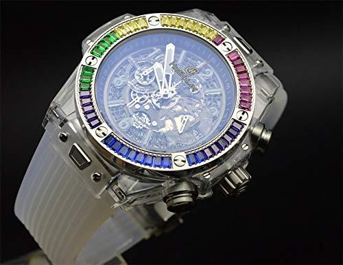 Tickwatch HB 47 mm genomskinlig ihålig diamant bezel sport kronograf japansk missformgiven funktion gummiband guld urtavla herr armbandsur vit urtavla …