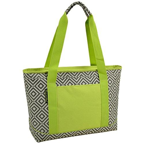 Picnic at Ascot Large Insulated Cooler Bag, Granite Grey/Green