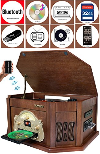 Boytone BT-25MB 8-in-1 Natural Wood Classic Turntable Stereo System with Bluetooth Connection