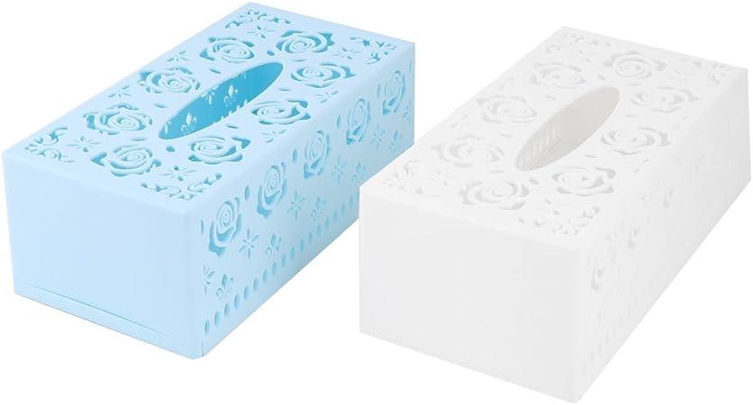 sourcing map Caja para Servilleta Tejido Cuadro Caso Titular Azul Y Blanca De Casa Baño Rectángulo De Plástico De 2Pcs: Amazon.es: Hogar