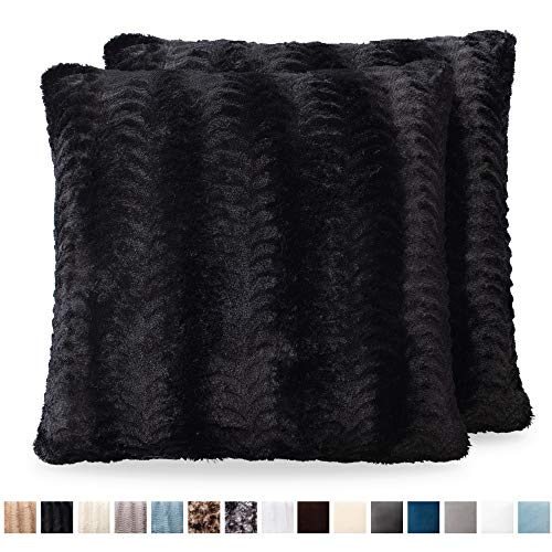The Connecticut Home Company Original Faux Fur Pillowcases, Set of 2 Decorative Case Sets, Throw Pillow Covers, Luxury Soft Cases for Bedroom, Living Room, Sofa, Couch, and Bed (18x18 inch, Black) Bedroom Living Room Sofa