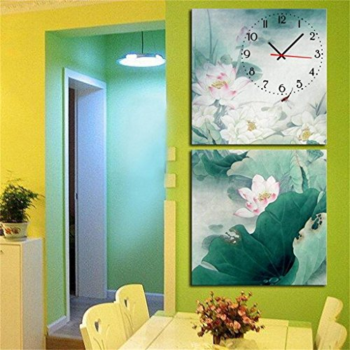 Royal-Modern Style canvas painting Ink painting lotus flowers Wall Clock in Canvas 2pcs