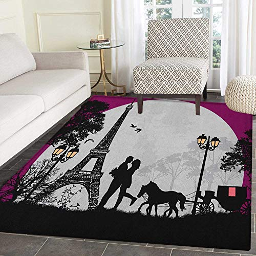 Romantic Anti-Skid Area Rug Horse Carriage Couple Hugging in Front of The Eiffel Tower and Full Moon Door Mat Increase 4'x5' Fuchsia Grey Black