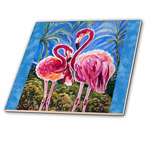 - 3dRose This is The Trinity Concept of Love - Bird Flamingos and The Subliminal Heart Formed by The Heads. - Ceramic Tile, 4-Inch (ct_54920_1)