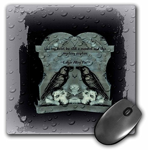 3dRose ET Photography - Halloween Designs - Two Ravens on tombstone with a quote from Poe - MousePad (mp_162111_1) -