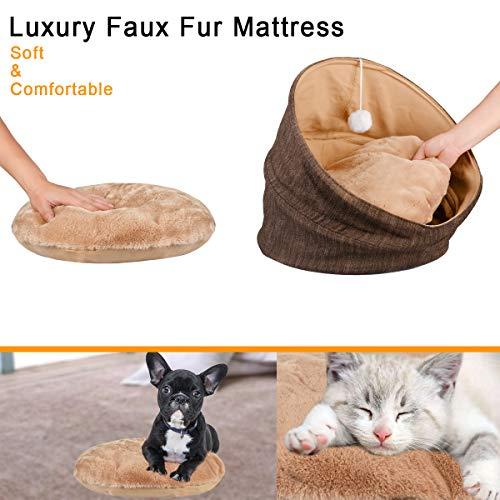 SUOCO Cuddle Cave - Tienda de campaña para Mascotas para Gatos o Perros pequeños, Lavable, Plegable, con colchón de Piel sintética de Lujo y Pelota de ...