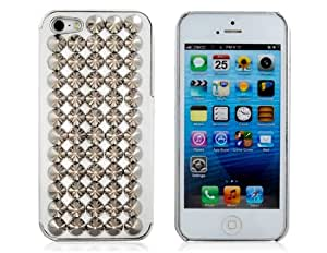 Wrui 3D Rivet Decoration Studded Plated Skinning Plastic Case for iPhone 5 (White)