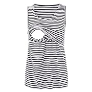 Pinkydot 2 Layers Maternity Nursing Comfy Tank Tops Sleeveless Comfy Breastfeeding Clothes White Black Stripe Small