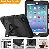 iPad Mini 1/ 2/ 3 Cover, SEYMAC Three Layer Heavy Duty Soft Silicone Hard Bumper Case Built-in-stand Shockproof Scratch Resistant Protective Cover for iPad Mini 3rd Generation for Kids Workers (Black)