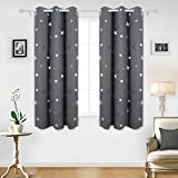 Deconovo Solid Grommet Curtains Window Blackout Curtains Silver Star Print Blackout Drapes For Infant Room 42x63 Inch Dark Grey Two Panels
