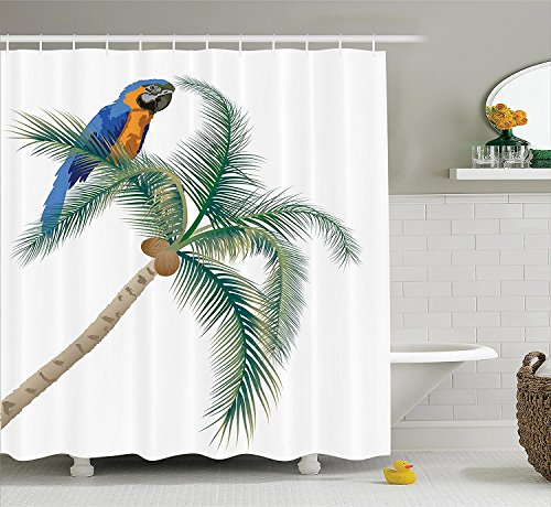 [Parrots Decor Shower Curtain Set Big Parrot Sitting on Coconut Palm Tree Talkative Character of Exotic Design Bathroom Accessories Green White Blue] (Parrot Costume Ebay)
