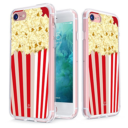 True Color Case Compatible with iPhone 7 Case - Clear-Shield Red Popcorn Box [Movie Time] Printed on Clear Back - Soft and Hard Thin Shock Absorbing Dustproof Full Protection Bumper Cover ()