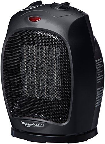 - AmazonBasics 1500 Watt Oscillating Ceramic Space Heater with Adjustable Thermostat - Black