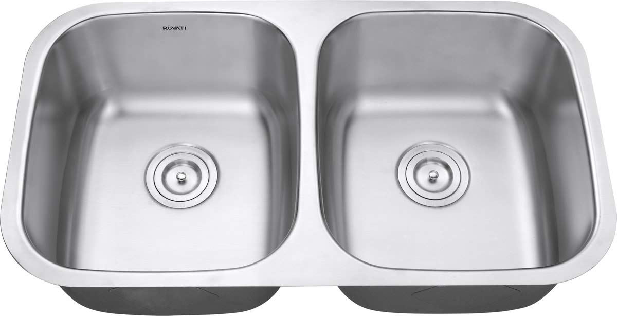 Ruvati 32-inch Undermount 50/50 Double Bowl 16 Gauge Stainless Steel Kitchen Sink - RVM4300 by Ruvati (Image #9)
