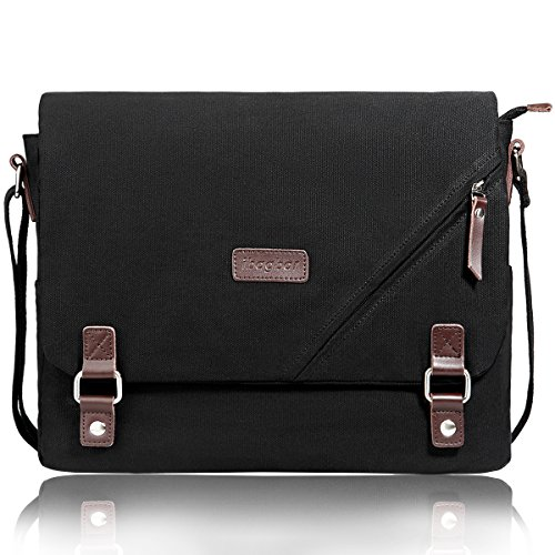 ibagbar Upgraded Canvas Messenger Bags 14 Inch Shoulder Crossbody Bag Laptop Computer Bags with Padded Sleeves Vintage Satchel College School Bag Bookbag Working Bag for Men and Women (Black 001)