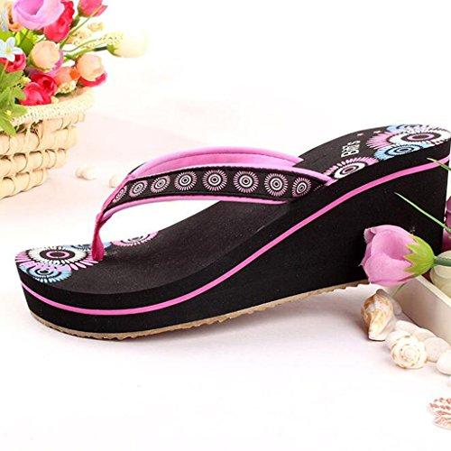 Sandales Épais Chaussures Été TPR Chaussons À Slope Rose Clip Talons Hauts Femelle Talons Semelle Toe Épaisse HqawrH6