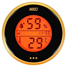Digital Humidor Hygrometer with Calibration and Touch Memory Checking Button in Gold.Mieo®