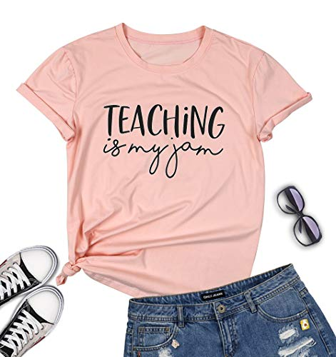 VILOVE Teaching is My Jam T-Shirt V-Neck Summer tee Short Sleeve Letter Print Top Size XL (Pink) -