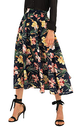 Chartou Women's Vintage Color-Block Floral Print Elastic-Waist Pleated A-Line Skater Skirts (Small, Navy Blue)