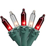"""Northlight Set of 100 Red & Clear Mini Christmas Lights 2.5"""" Spacing - Green Wire"""