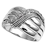 Sterling Silver Women's White CZ Ring Fashion Pure 925 New Wide Band Size 8
