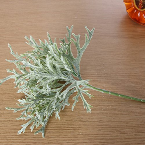 Floralby 1Pc Garden Home Office Decor Artificial Dusty Miller Leaves Realistic Plant