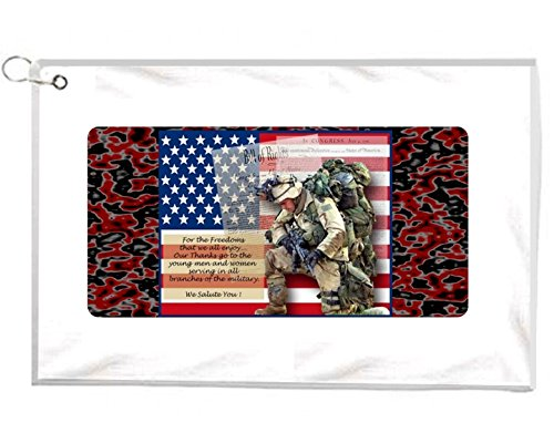 Army Soldier Freedom Novelty Golf Towel Golfers Accessories Cleaning Tool by Gatsbe Exchange Golf Towels