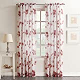 No. 918 Kiki Floral Print Crushed Sheer Voile Rod Pocket Curtain Panel, 51″ x 95″, Coral For Sale