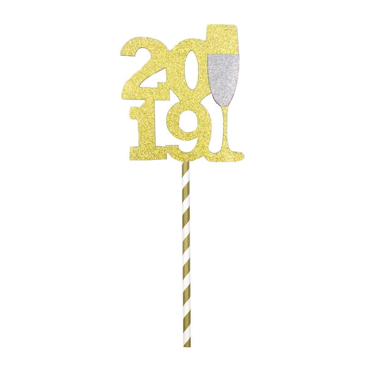 JANOU 2019 Gold Glitter Champagne Glass Cake topper Cupcake Toothpick Cake Decor Wedding Birthday Graduation New Year Party Suppliers