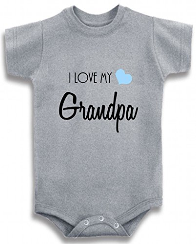 Gray Crew Neck Baby Tee Time Baby Boys' Font I Love My Grandpa One piece 6-12 Months by Baby Tee Time