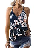 AlvaQ Tank Tops for Women Sexy V Neck Boho Floral Printed Sleeveless Shirts Summer Clothes Blue Large